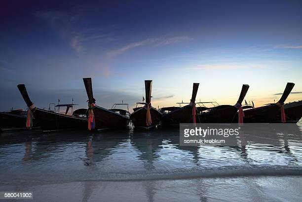 Wooden boats on sea beach at Lipe Island;Thailand.
