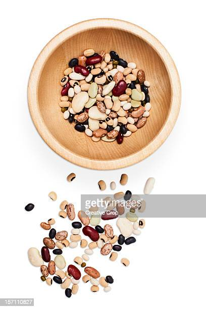 Wooden bowl of assorted dried beans