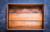 Vintage wooden box empty on dark background copy space directly above.