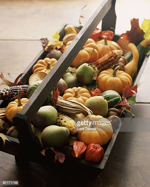 Wooden box filled with fall harvest