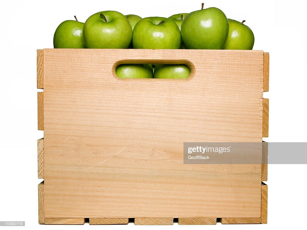 Green Apples in Fruit Crate