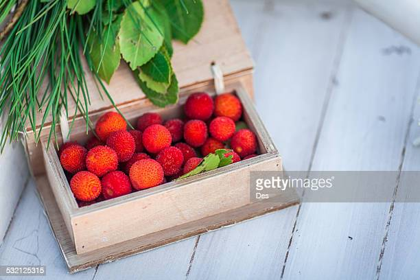 Wooden box of lychee fruit