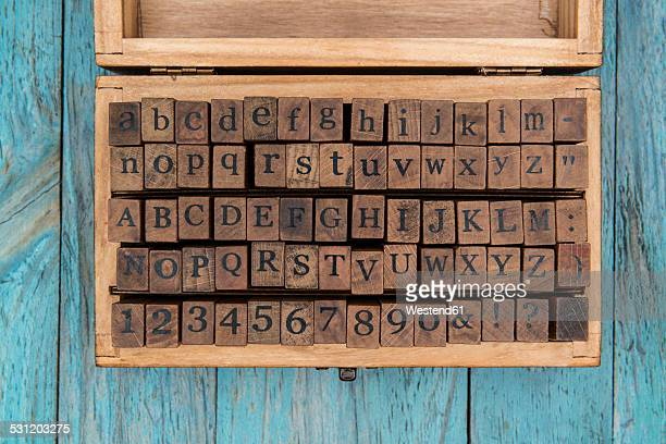 Wooden box of wooden letter stamps