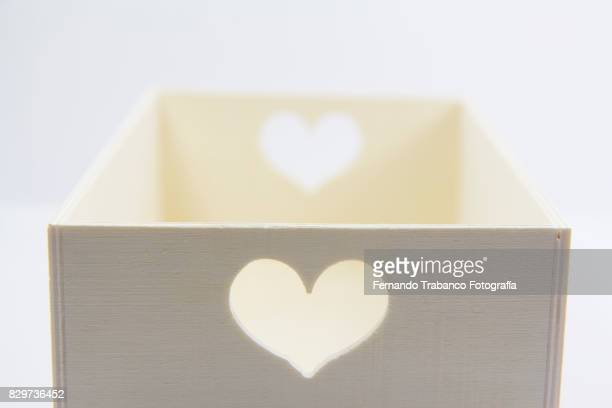 Wooden box with hearts love