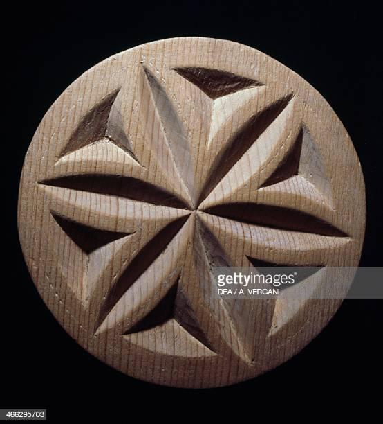 Wooden bread mold Walser handicrafts Valle d' Aosta Italy Walser culture