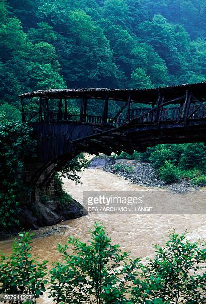 Wooden bridge in ruins on the river at Lake Uzungol Trabzon Black Sea region Turkey