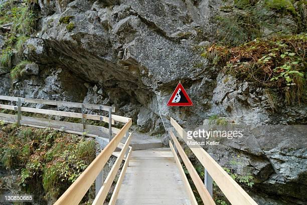 Wooden bridge in the Rappenloch canyon - Dornbirn, Vorarlberg, Austria, Europe.