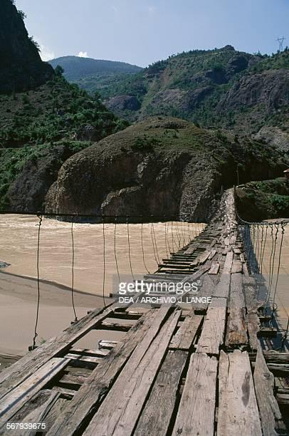 Wooden bridge over Coruh River northeastern Turkey