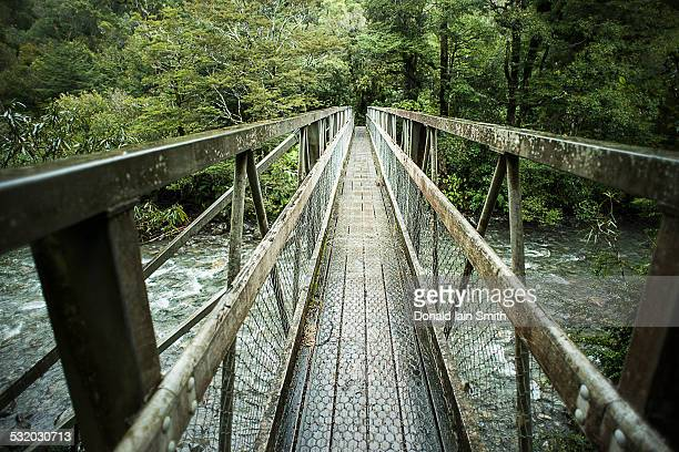 Wooden bridge over river in forest