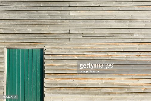 Wooden building with door