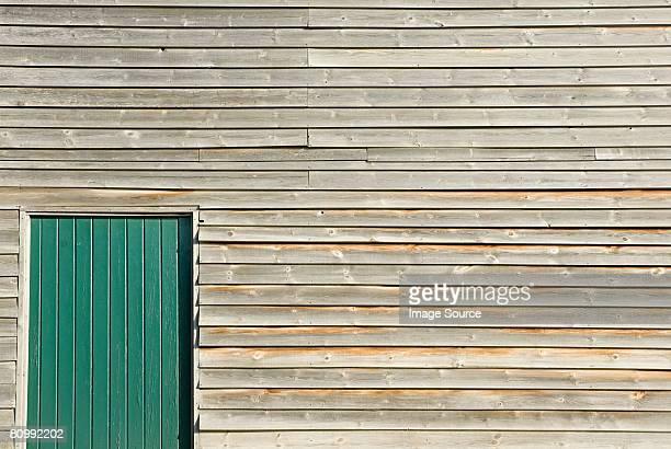 Wooden building with door