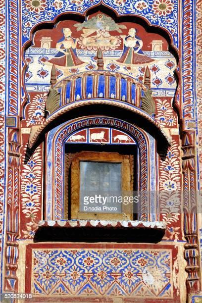 Wooden carving on jharokha of haveli, Fatehpur Shekhawati, Rajasthan, India