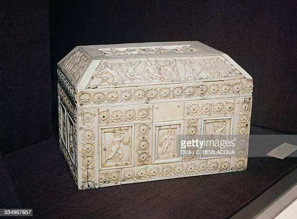 Wooden casket overlaid with ivory and bone plaques made in Constantinople Byzantine civilisation beginning of the 11th century London Victoria And...