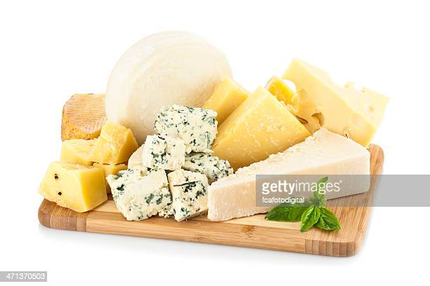 Wooden cheese board isolated on white backdrop