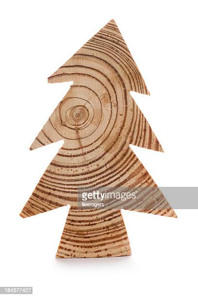 Wooden Christmas tree shape on a white background