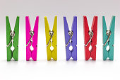 Multicolor Wooden clip set. colorful clothespin isolate on white background.