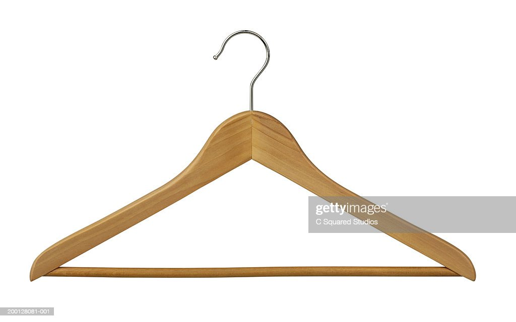 Wooden clothes hanger : Stock Photo