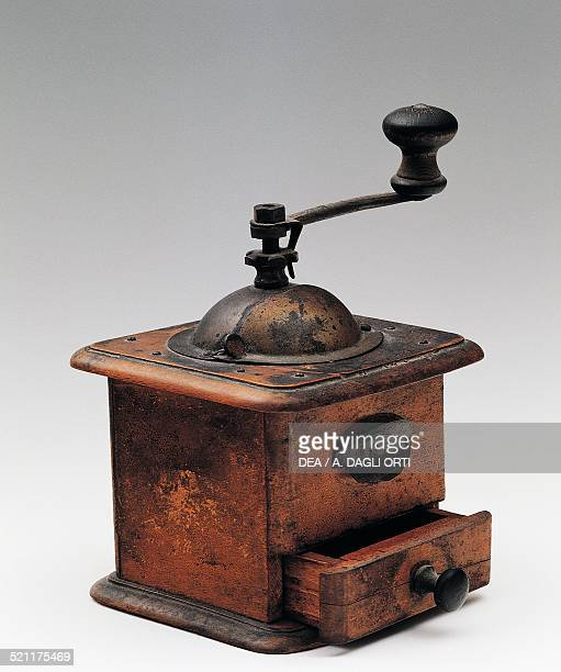 Wooden coffee grinder made by BT Italian Manufacturers 1920s Italy 20th century Italy