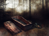 Dark forest with an old wooden coffin and bones lying next to it. 3D render.