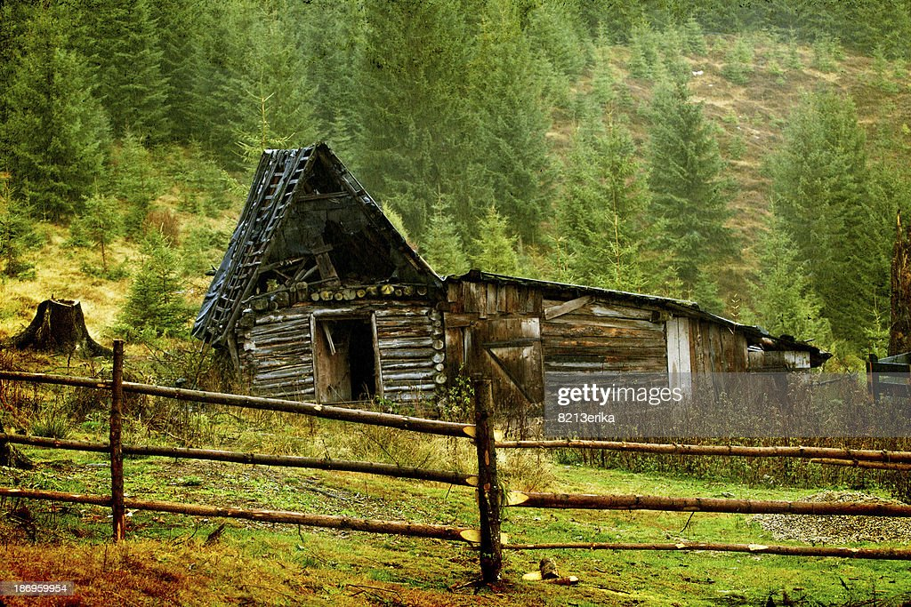 Wooden cottage in the mountains stock photo getty images for Cottage in the mountains