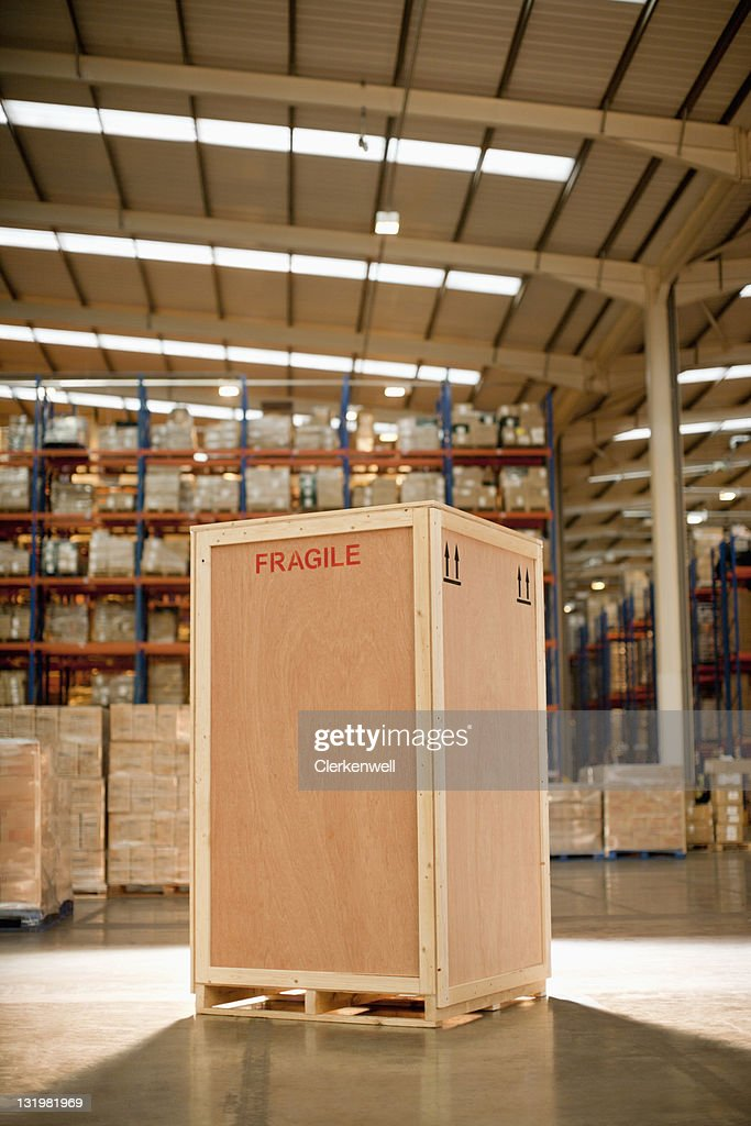 Wooden crate in warehouse