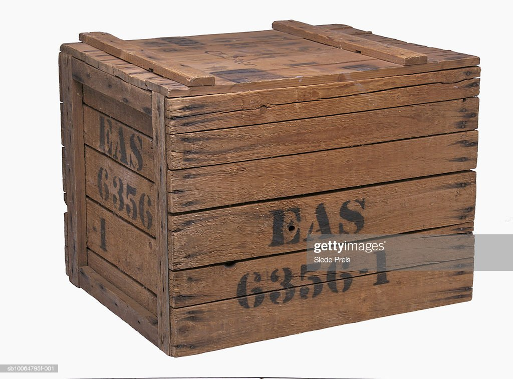 Wooden crate on white background