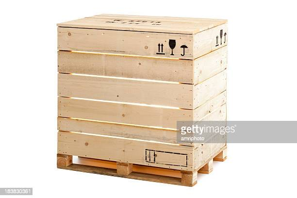 wooden crate on white