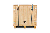 Wooden crate for industry items, isolated on white background with clipping path