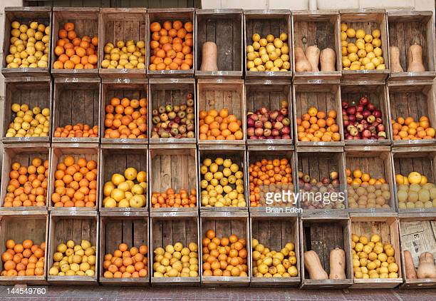 Wooden crates filled with fresh produce