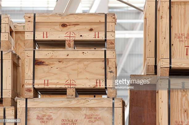 Wooden crates in a storage warehouse.