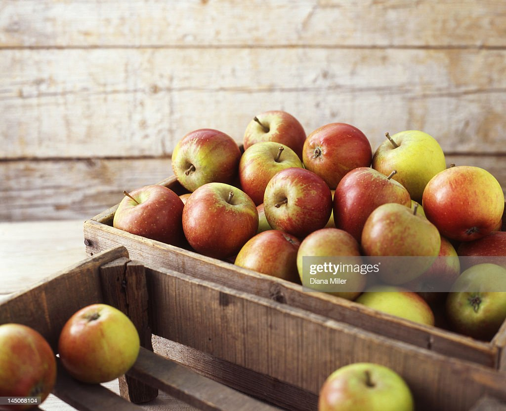 Wooden crates of organic apples : Stock Photo