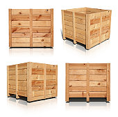 Includes an outline path and a path around the shadows. A wooden crate shown in all four angles with a realistic shadow and reflection incorporated. High resolution and easy to edit.