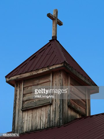 Wooden Cross Old Church Tower Christian Religious Background Blue Sky : Stock Photo