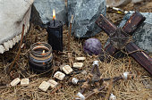 Mystic background with ritual esoteric objects, occult and halloween concept