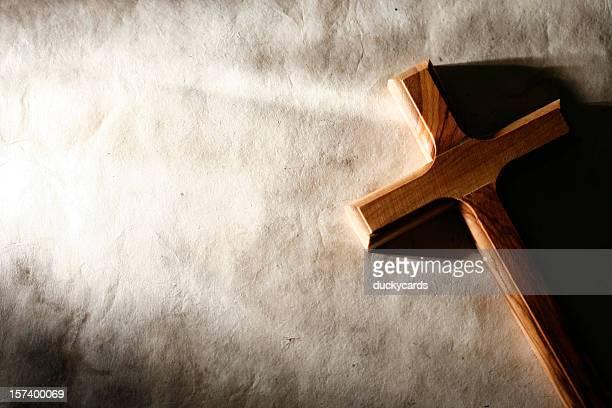 Wooden Cross on Grunge Background