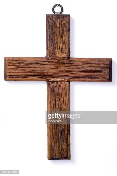 Hölzerne Kruzifix Kreuz auf weißem Hintergrund