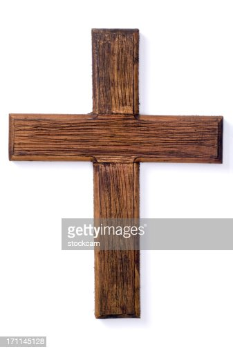 Wooden crucifix cross on white background
