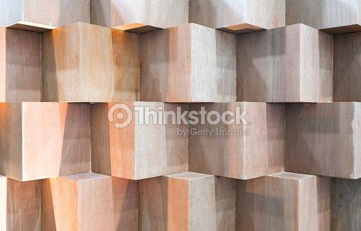 Boîtes en bois cube création abstraite géométrique mur : Photo