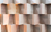Wooden cube boxes creating abstract geometric wall background