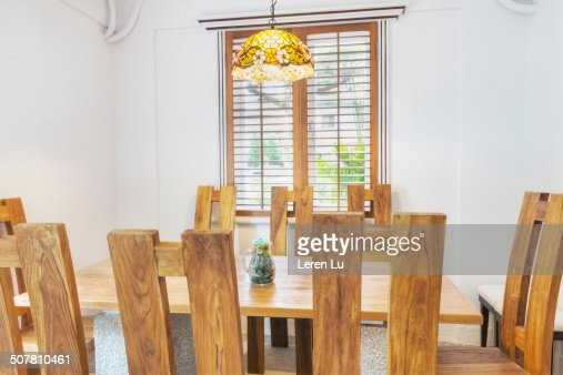 Wooden dinning table and chairs : Stock Photo