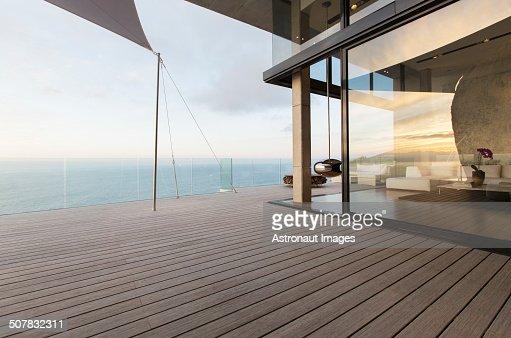 Wooden dock of modern house