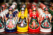 Traditional handmade toys puppets dolls in symbolic artistic dress