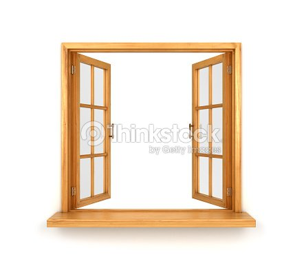 Wooden double window opened stock photo thinkstock for Fenster offen