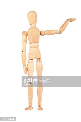 Boneco de madeira com a Mão Levantada : Foto de stock