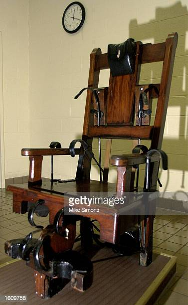 A wooden electric chair sits in the death chamber of the Southern Ohio Correctional Facility August 29 2001 in Lucasville Ohio The state of Ohio is...