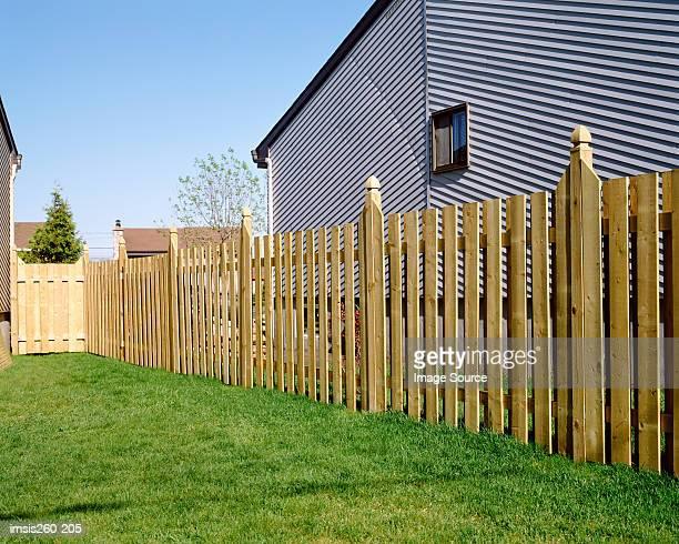 Wooden fence in garden