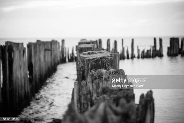 Wooden fence in sea