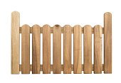 Wooden Fence isolated on white Background with clippping path