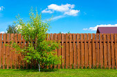 Wooden fence in a country house. Selective focus