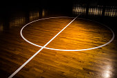Wooden floor basketball court with light effect